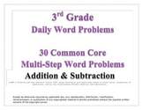3rd Grade Daily Word Problems: Addition & Subtraction (Sample)