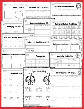 3rd Grade December / Christmas No Prep Math and Literacy Common Core Packet