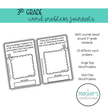 3rd Grade December Math Word Problem Journal