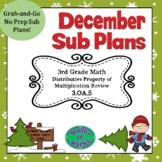 3rd Grade December Sub Plans Distributive Property 3.OA.5