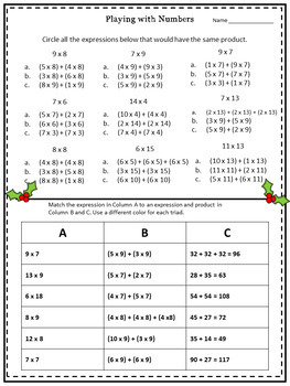 3rd Grade December Sub Plans Distributive Property 3.OA.5