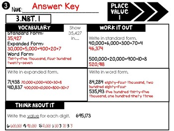 (3rd Grade) Common Core Math Assessments: Differentiated & Aligned to NBT