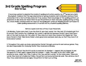 3rd Grade Differentiated Spelling Program Unit 4 - Reading Street Aligned