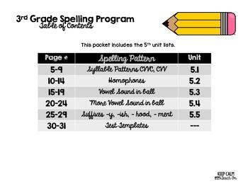 3rd Grade Differentiated Spelling Program Unit 5 - Reading Street Aligned