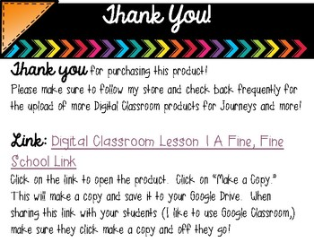 3rd Grade Digital Classroom: Lesson 1- A Fine, Fine School- for Journeys
