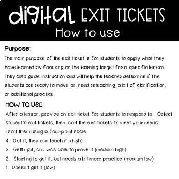 3rd Grade Digital Exit Slips for Multiplication