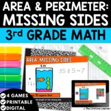 Area and Perimeter Missing Sides   3rd Grade Math   Print and Digital