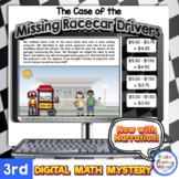 3rd Grade Digital Math Mystery Missing Race Car Drivers fo