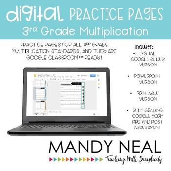 3rd Grade Digital Multiplication Practice Pages