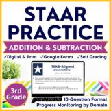 3rd Grade Digital STAAR Practice: Set 3 Addition & Subtraction | Google + Print