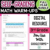 3rd Grade Digital Self-Grading Math Bell Ringers Bundle