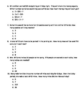 3rd Grade Division Common Core Test Prep Worksheets