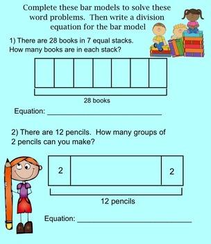 3rd Grade Division- Model with Bar Models Smartboard Activity