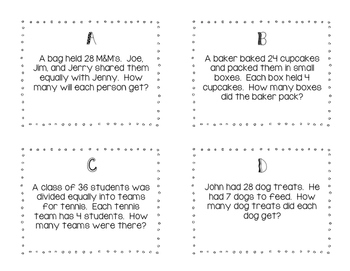 3rd Grade Division Word Problem task cards/SCOOT