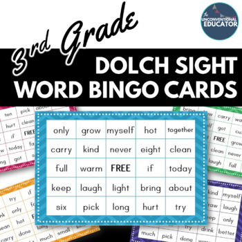 3rd Grade Dolch Sight Word BINGO Card Printable: Includes 30 cards!