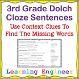 3rd Grade Dolch Words: Cloze Sentence Worksheets