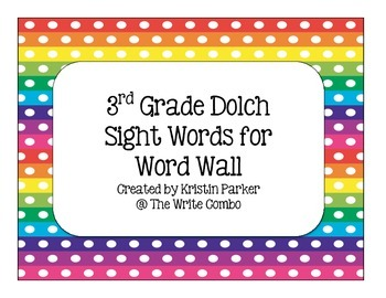 3rd Grade Dolch Sight Word Cards for Word Wall