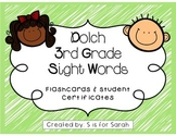 3rd Grade Dolch Sight Word Flashcards and Certificates