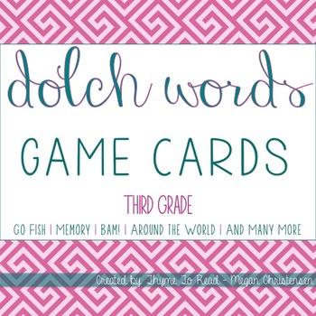 3rd Grade Dolch Sight Word Game Cards