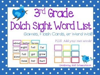 3rd Grade Dolch Sight Word Games and Flash Cards