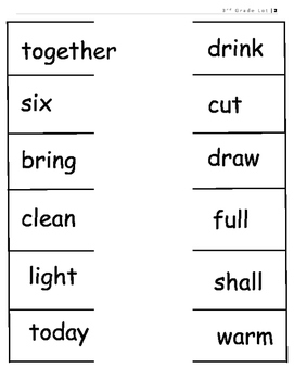 3rd Grade Dolch Sight Word Parking Lot Practice or Assessment