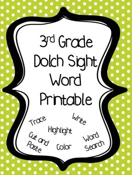3rd Grade Dolch Sight Word Printables