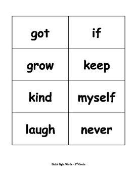 3rd Grade Dolch Sight Words Flash Cards - RF.K.3