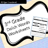 3rd Grade Dolch Sight Words Practice Worksheets