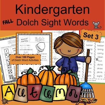 Kindergarten  Worksheets Sight Words  for Fall