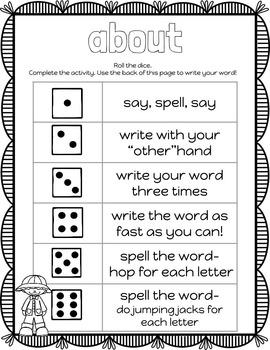 Kindergarten Dolch Sight Words Activities SPRING SET