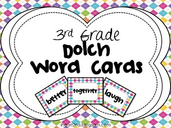 3rd Grade Dolch Word Cards