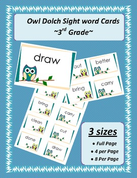 3rd Grade Dolch Word Cards -Owls Teal & Green