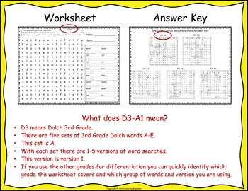 3rd Grade Morning Work - 3rd Grade Dolch Words: Word Searches or Word Puzzles