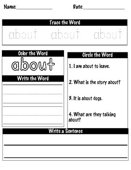 3rd Grade Dolch Sight Words Practice Worksheets Preview