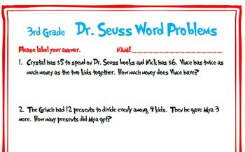 3rd Grade Dr. Seuss Word Problems