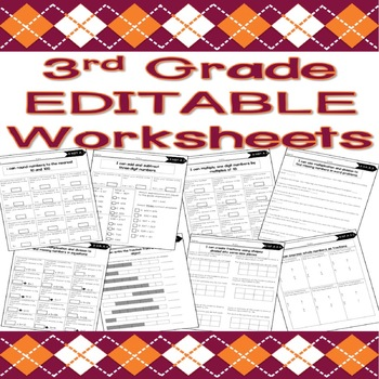 3rd Grade EDITABLE Math Worksheets (Base Ten, Operations, and Fractions)