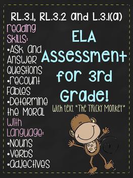3rd Grade ELA Assessment for RL.3.1, RL.3.2, and L.3.1(a)