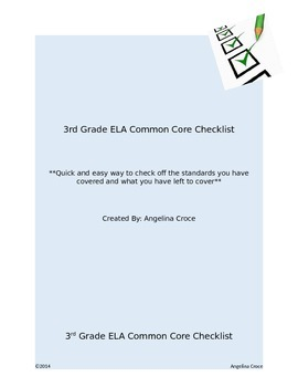 3rd Grade ELA CCSS Checklist