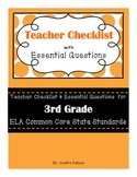 3rd Grade ELA CCSS- Teacher Checklist & Essential Questions