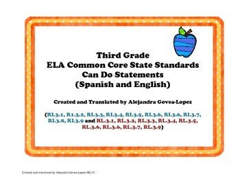 3rd Grade ELA Common Core Can Do Statements-Bilingual