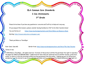 3rd Grade ELA Common Core I Can Statements