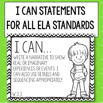 "3rd Grade ELA Common Core ""I Can..."" Statements- Great for Goal Boards"