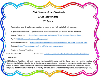 3rd Grade ELA Common Core Standards - I Can Statements
