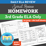 3rd Grade ELA Homework Spiral Review Distance Learning Packet