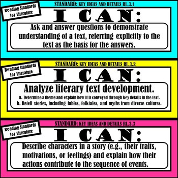 """3rd Grade ELA """"I Can Statements"""" (Common Core Aligned)"""