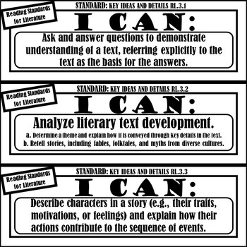 """3rd Grade ELA """"I Can Statements"""" (Common Core Aligned) BLACK AND WHITE!"""