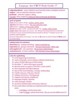 3rd Grade ELA Language Arts CRCT Study Guide