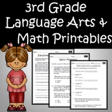3rd Grade ELA Language Arts & Math Printables & Assessments Common Core Bundle