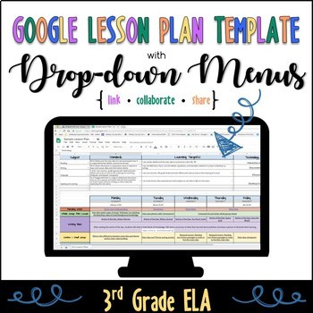 3rd Grade ELA Lesson Plan Template with Drop-down Menus