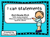 "3rd Grade ELA Missouri Learning Standards ""I can"" Statements & Checklists"